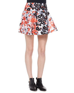 Abstract Flower-Print Flounce Skirt