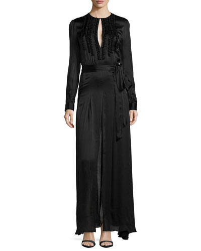 Lorena Crinkle-Front Satin Gown