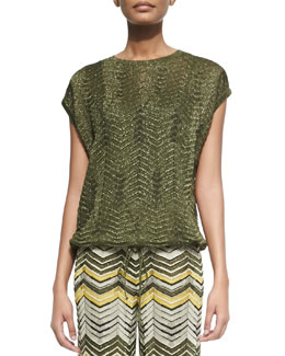 Metallic Zigzag Top W/ Tie Front