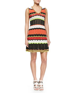 Sleeveless Colorblock Zigzag Dress