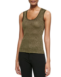 Solid Metallic Scoop-Neck Tank, Olive
