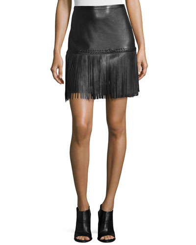 Leo Leather Fringe Skirt, Black