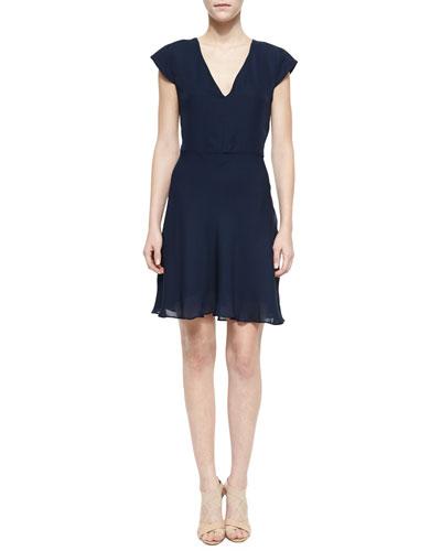Short-Sleeve Deep-V Dress