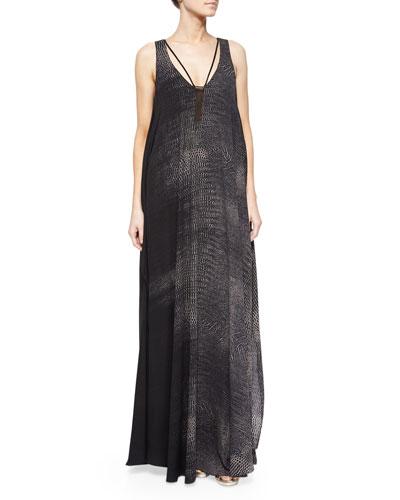 Snake-Jacquard Maxi Shift Dress, Black