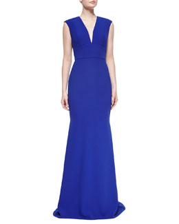 Cap-Sleeve V-Neck Tailored Gown