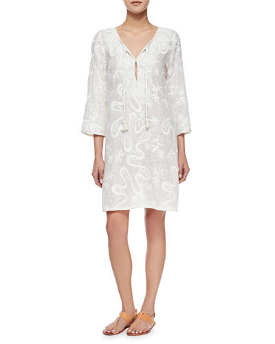 Lektri Floral Linen Dress, White