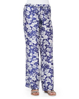 Fala Wide-Leg Floral Pants, Blue