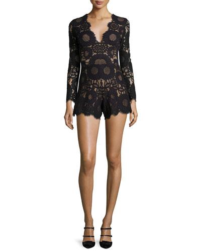 Ramzes Long-Sleeve Lace Romper, Black