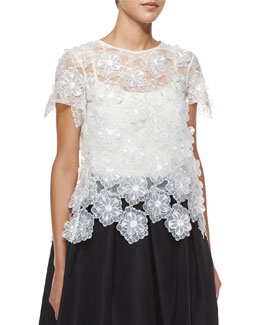 Three-Dimensional Floral Lace Tee, White