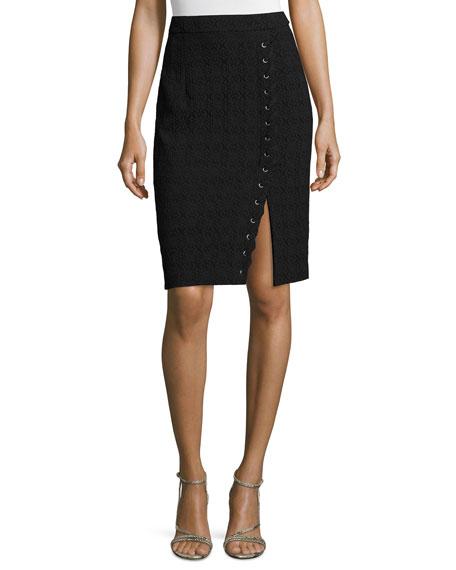 Textured Pencil Skirt W/Lace-Up Slit, Black