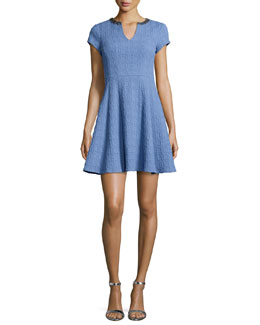 Short-Sleeve Textured Fit & Flare Dress