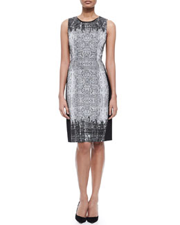 Holly Sleeveless Snake-Print Sheath Dress