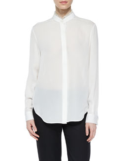 Classic Silk Long-Sleeve Shirt, Antique White
