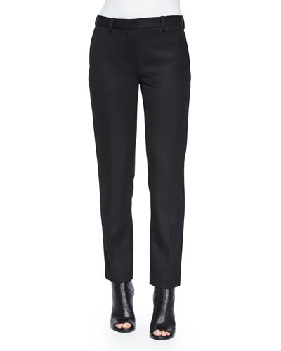 Wool Pencil Trousers, Black