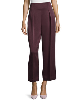 Cropped Wide-Leg Trousers, Merlot
