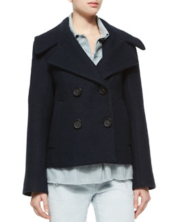 Trompe l'Oeil Denim Double-Breasted Wool Jacket