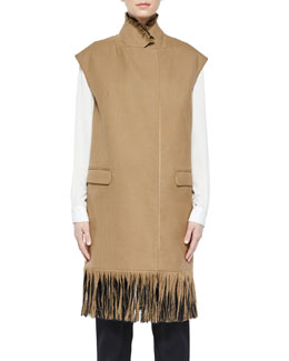 Long Wool Vest with Fringe, Tan