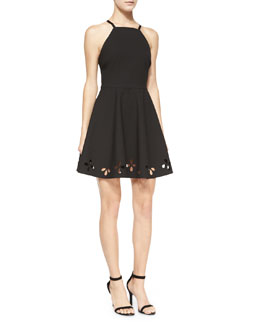 Enary Laser-Cut A-Line Dress, Black