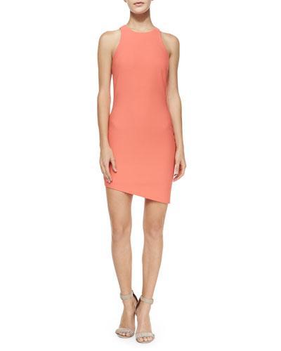 Bridget Asymmetric Racerback Sheath Dress, Bellini