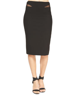 Otto Mesh-Trim Ponte Skirt, Black