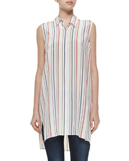 Sleeveless Striped Rollins Tunic, Ivory
