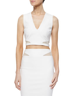 Otto Mesh-Trim Crop Top, Ivory