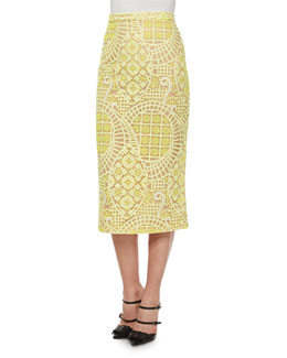 Aurora Lace Midi Skirt, Yellow