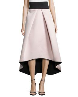 High-Low Satin Ball Skirt, Blush