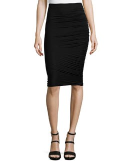 Gathered Jersey Pencil Skirt