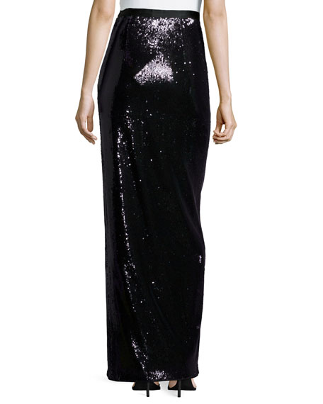 Long Sequined Skirt W/ High Slit
