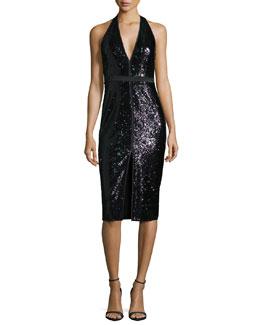 Sleeveless V-Neck Sequined Cocktail Dress