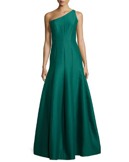 One-Shoulder Tulip-Skirt Gown