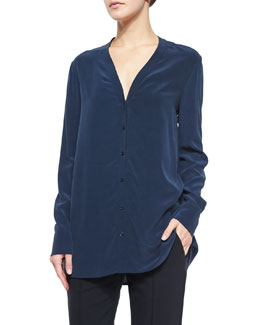 V-Neck Button-Down Silk Blouse