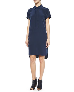 Half-Placket Short-Sleeve Shirtdress