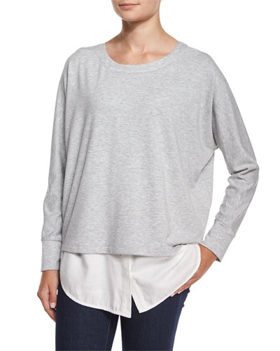 Long-Sleeve Mixed Media Top