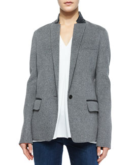 Leather-Trim Wool Blazer