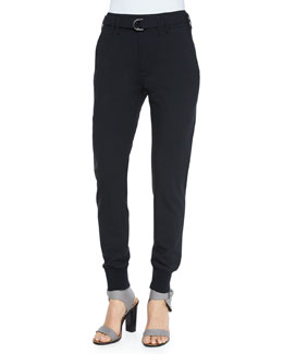 Belted Wool Jogger Pants