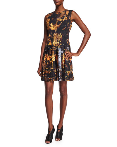 Sleeveless Pleated Snake-Print Dress, Amber