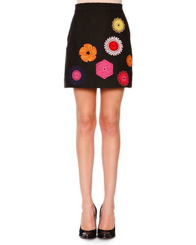Wool Macrame Patch Skirt