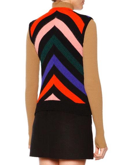 Sleeveless Chevron-Print Knit Pullover