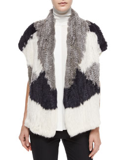 Colorblock Rabbit Fur Vest