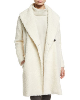 Fuzzy Knit Long Coat