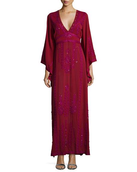 Calypso St Barth Demme Embellished Caftan Gown, Dark