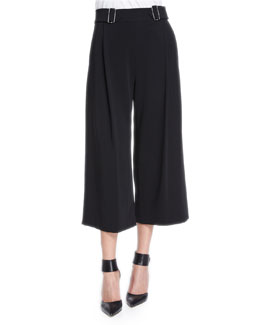 Beals Belted Gaucho Pants, Black