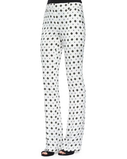 Joseph Silk Medallion-Print Pants, White
