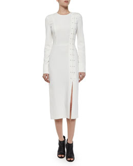 Duncan Long-Sleeve Barbell Dress, White