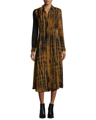 Maxwell Silk Tie-Dye Shirtdress, Black/Camel