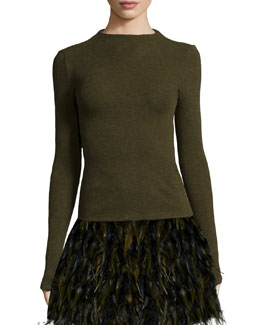 Genova Long-Sleeve Knit High-Neck Top, Army Green