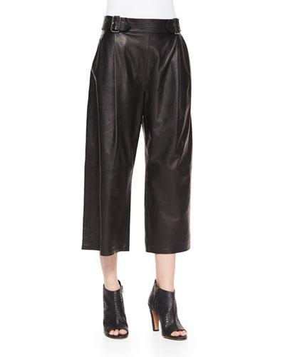 Tabor Leather Gaucho Pants, Black