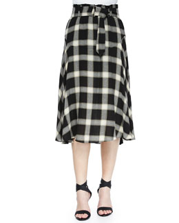 Gabriele Plaid Belted Skirt, Black